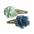 Hair Clips Fluffy Flower Aqua