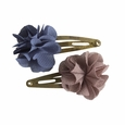 Hair Clips Fluffy Flower Denim