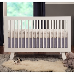 Hudson 3-in-1 Convertible Crib w/ Toddler Rail: White