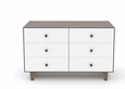 RHEA MERLIN 6 DRAWER DRESSER - WALNUT/WHITE