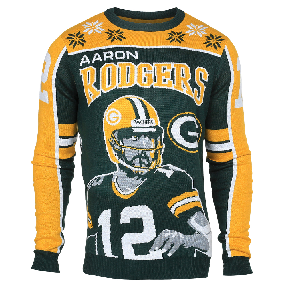 08a844e4d ... Aaron Rodgers 12 (Green Bay Packers) NFL Player Ugly Sweater ...