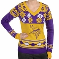Minnesota Vikings Big Logo (Women's V-Neck) NFL Ugly Sweater