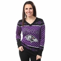 Baltimore Ravens Big Logo Women's V-Neck Ugly Sweater by Forever Collectibles