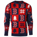 Boston Red Sox Patches MLB Ugly Crew Neck Sweater by Forever Collectibles