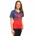 Boston Red Sox MLB Team Color Gradient Women's V-Neck Tee by Forever Collectibles