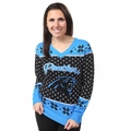 Carolina Panthers Big Logo Women's V-Neck Ugly Sweater by Forever Collectibles