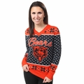 Chicago Bears Big Logo Women's V-Neck Ugly Sweater by Forever Collectibles