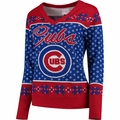Chicago Cubs Big Logo Women's V-Neck Ugly Sweater by Forever Collectibles