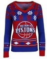 Detroit Pistons Big Logo (Women's V-Neck) NBA Ugly Sweater