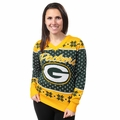 Green Bay Packers Big Logo Women's V-Neck Ugly Sweater by Forever Collectibles