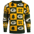 Green Bay Packers Patches NFL Ugly Crew Neck Sweater by Forever Collectibles
