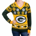 Green Bay Packers Big Logo (Women's V-Neck) NFL Ugly Sweater