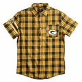 Green Bay Packers Wordmark Short Sleeve Flannel Shirt by Klew