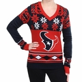 Houston Texans Big Logo (Women's V-Neck) NFL Ugly Sweater