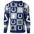 Indianapolis Colts Patches NFL Ugly Crew Neck Sweater by Forever Collectibles