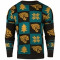 Jacksonville Jaguars Patches NFL Ugly Crew Neck Sweater by Forever Collectibles