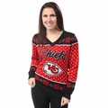 Kansas City Chiefs Big Logo Women's V-Neck Ugly Sweater by Forever Collectibles