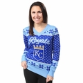 Kansas City Royals 2016 Big Logo Women's V-Neck Ugly Sweater by Forever Collectibles