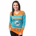 Miami Dolphins Big Logo Women's V-Neck Ugly Sweater by Forever Collectibles