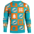 Miami Dolphins Patches NFL Ugly Crew Neck Sweater by Forever Collectibles