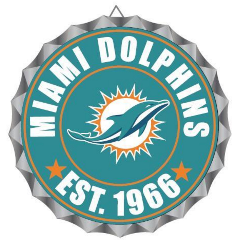 Miami Dolphins NFL Wall Decor Bottlecap Collection By