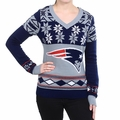 New England Patriots Big Logo (Women's V-Neck) NFL Ugly Sweater