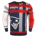 New England Patriots Men's Plaid Crew Neck NFL Ugly Sweater