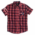 New England Patriots Wordmark Short Sleeve Flannel Shirt by Klew