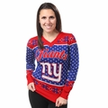 New York Giants 2016 Big Logo Women's V-Neck Ugly Sweater by Forever Collectibles