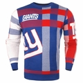 New York Giants Men's Plaid Crew Neck NFL Ugly Sweater