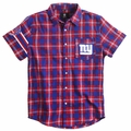 New York Giants Wordmark Short Sleeve Flannel Shirt by Klew