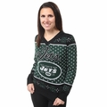 New York Jets Big Logo Women's V-Neck Ugly Sweater by Forever Collectibles