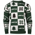 New York Jets Patches NFL Ugly Crew Neck Sweater by Forever Collectibles