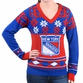New York Rangers Big Logo (Women's V-Neck) NHL Ugly Sweater