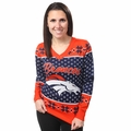 NFL Big Logo Women's V-Neck Ugly Sweater by Forever Collectibles