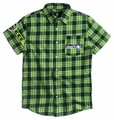 NFL Wordmark Short Sleeve Flannel Shirts by Klew