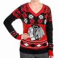 NHL Big Logo Women's V-Neck Ugly Sweaters by Klew