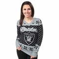 Oakland Raiders Big Logo Women's V-Neck Ugly Sweater by Forever Collectibles