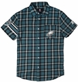 Philadelphia Eagles Wordmark Short Sleeve Flannel Shirt by Klew