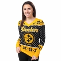 Pittsburgh Steelers Big Logo Women's V-Neck Ugly Sweater by Forever Collectibles