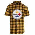 Pittsburgh Steelers NFL Colorblock Short Sleeve Flannel