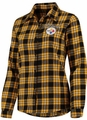 Pittsburgh Steelers NFL 2016 Women's Wordmark Long Sleeve Flannel Shirt