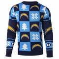 Los Angeles Chargers Patches NFL Ugly Crew Neck Sweater by Forever Collectibles