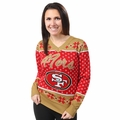 San Francisco 49ers Big Logo Women's V-Neck Ugly Sweater by Forever Collectibles
