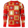 San Francisco 49ers Patches NFL Ugly Crew Neck Sweater by Forever Collectibles