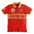 San Francisco 49ers NFL Cotton Wordmark Rugby Short Sleeve Polo Shirt