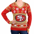 San Francisco 49ers Big Logo (Women's V-Neck) NFL Ugly Sweater