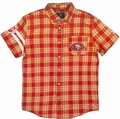 San Francisco 49ers  Wordmark Short Sleeve Flannel Shirt by Klew