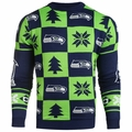 Seattle Seahawks Patches NFL Ugly Crew Neck Sweater by Forever Collectibles