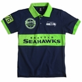 Seattle Seahawks NFL Cotton Wordmark Rugby Short Sleeve Polo Shirt